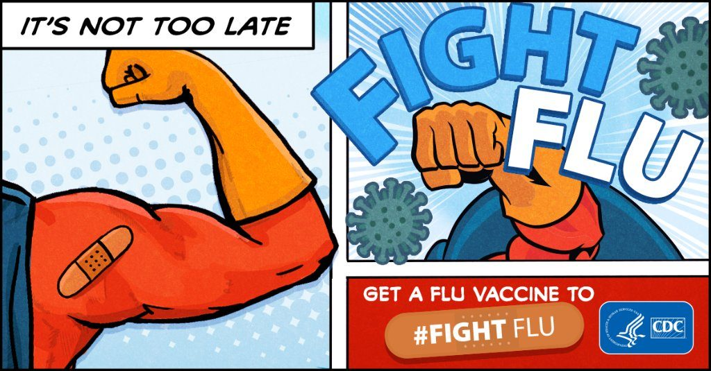 cartoon image that shows an arm with a band aid and fighting flu