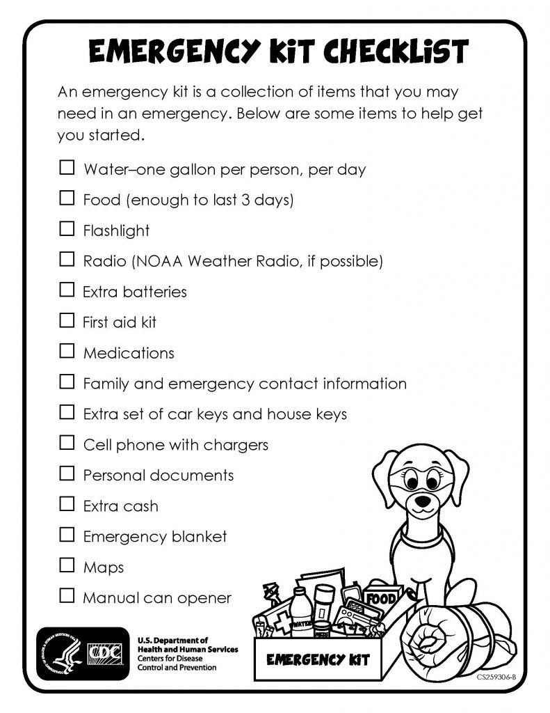 a checklist with a preparedness kit and a puppy