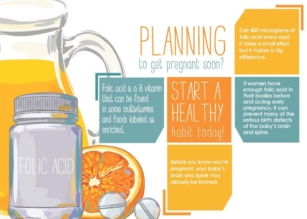Informational postcard size image on the importance of Folic Acid during pregnancy