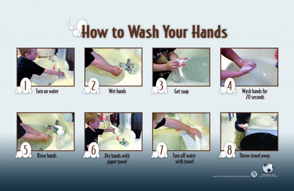 steps to properly washing your hands with a little boy in a black shirt