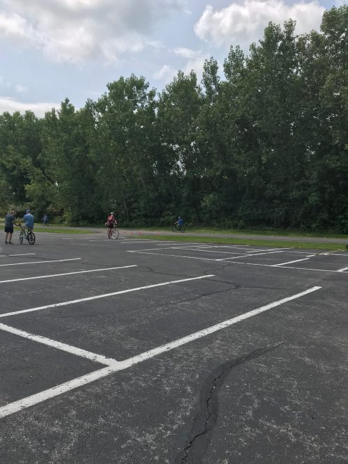 Starting the course and riding in the parking lot